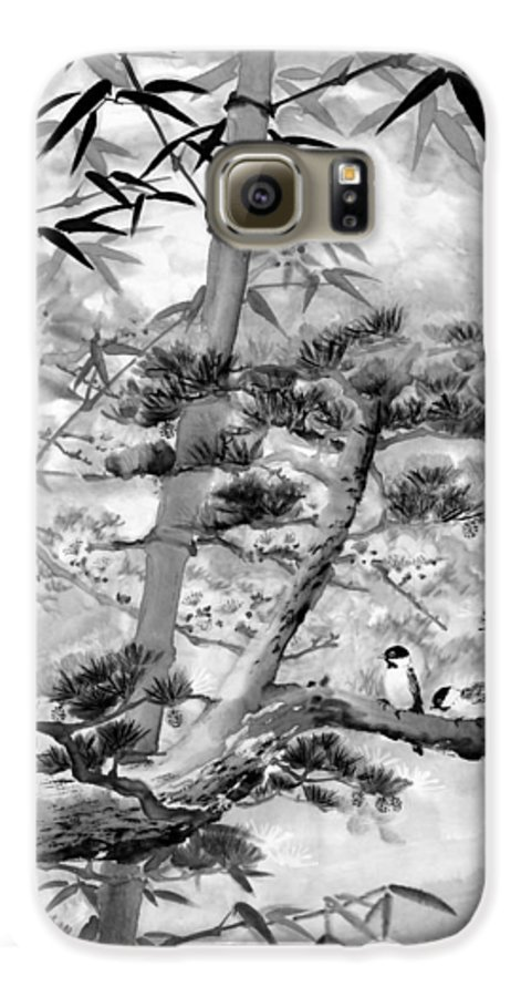 Black And White Galaxy S6 Case featuring the painting Nature by Eileen Fong