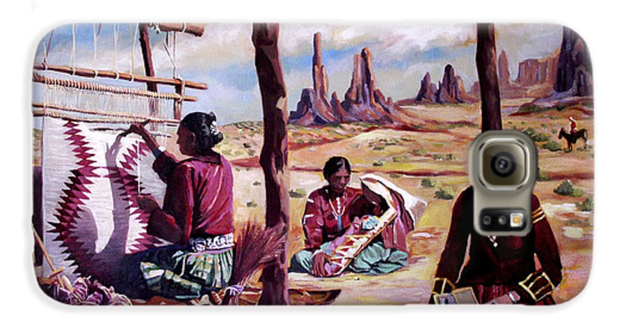 Native American Galaxy S6 Case featuring the painting Navajo Weavers by Nancy Griswold
