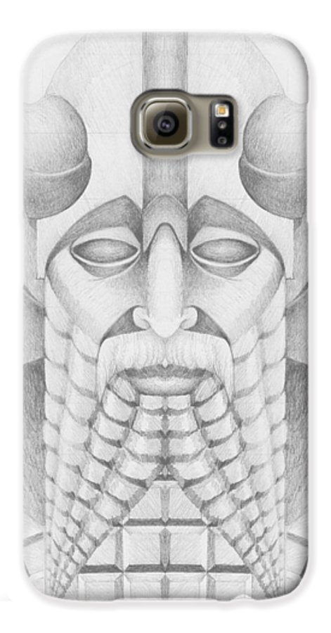 Babylonian Galaxy S6 Case featuring the drawing Nebuchadezzar by Curtiss Shaffer