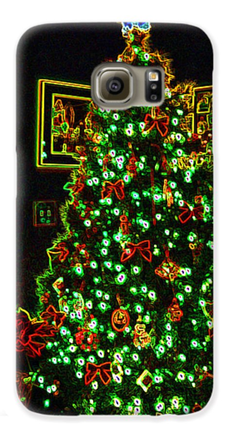 Christmas Galaxy S6 Case featuring the photograph Neon Christmas Tree by Nancy Mueller