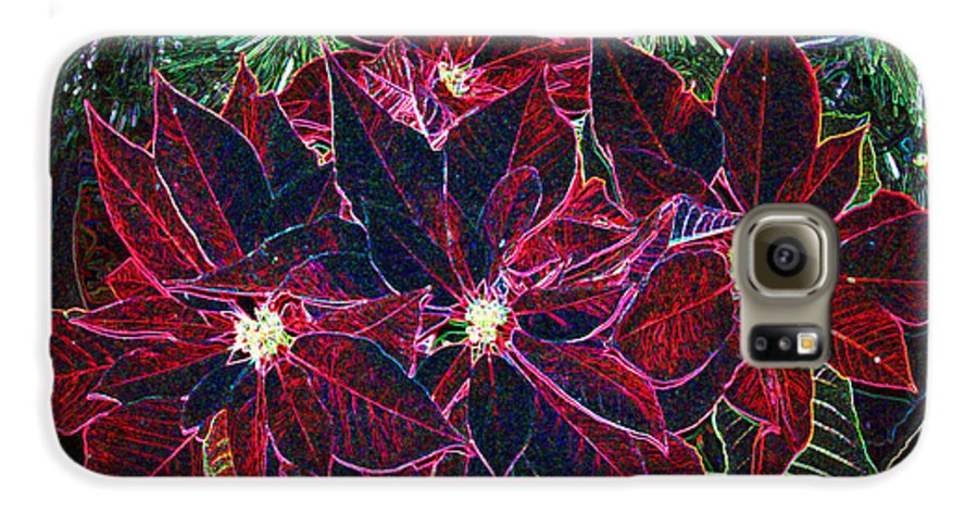 Flowers Galaxy S6 Case featuring the photograph Neon Poinsettias by Nancy Mueller