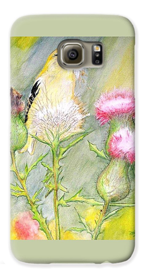 Goldfinch Galaxy S6 Case featuring the painting Nest Fluff by Debra Sandstrom