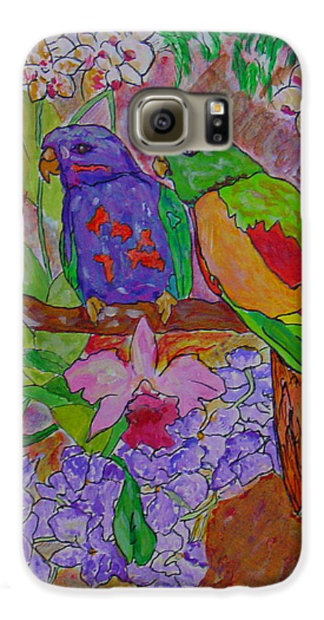 Tropical Pair Birds Parrots Original Illustration Leilaatkinson Galaxy S6 Case featuring the painting Nesting by Leila Atkinson