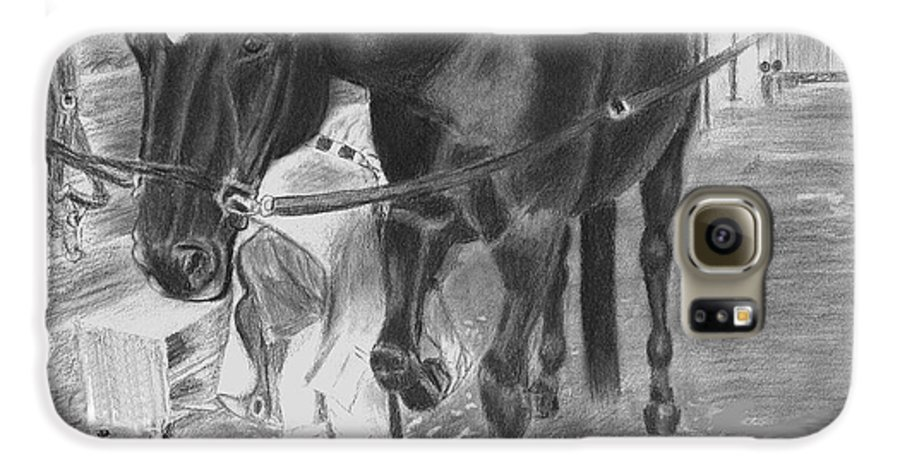 Horse Galaxy S6 Case featuring the drawing New Shoes by Quwatha Valentine