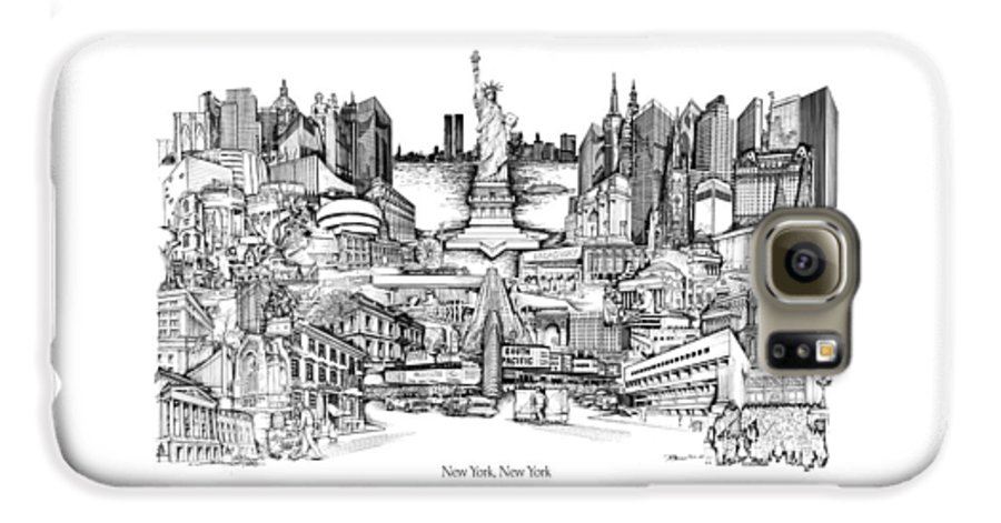 City Drawing Galaxy S6 Case featuring the drawing New York by Dennis Bivens