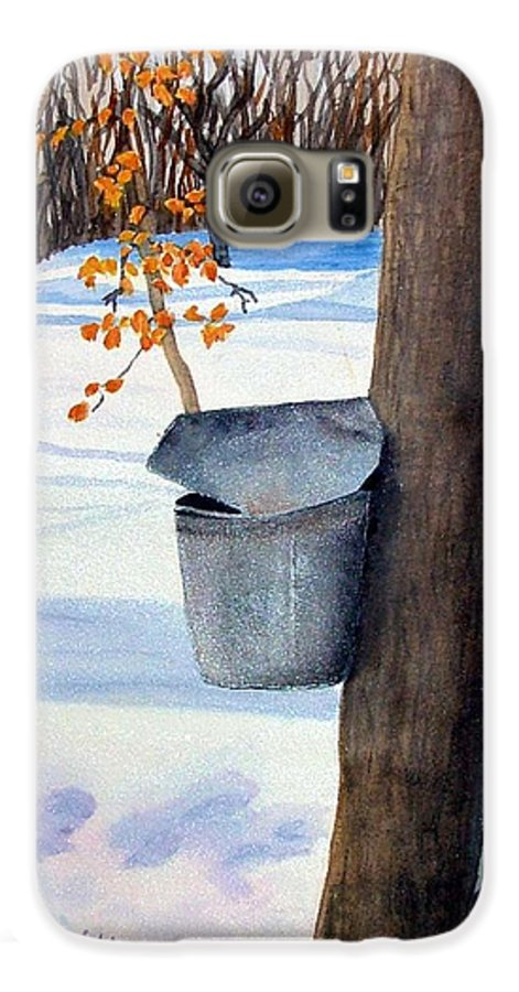 Sap Bucket. Maple Sugaring Galaxy S6 Case featuring the painting Nh Goldmine by Sharon E Allen