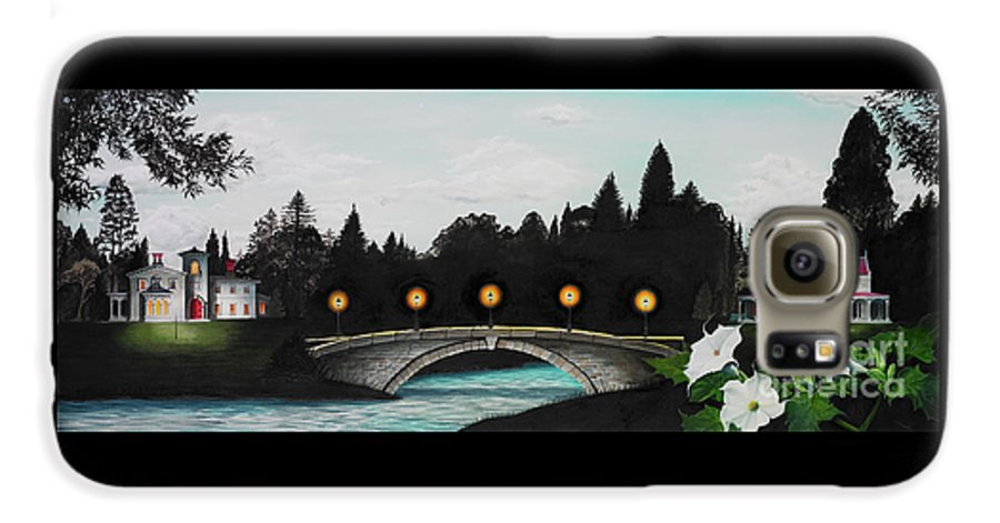 Architecture Galaxy S6 Case featuring the painting Night Bridge by Melissa A Benson