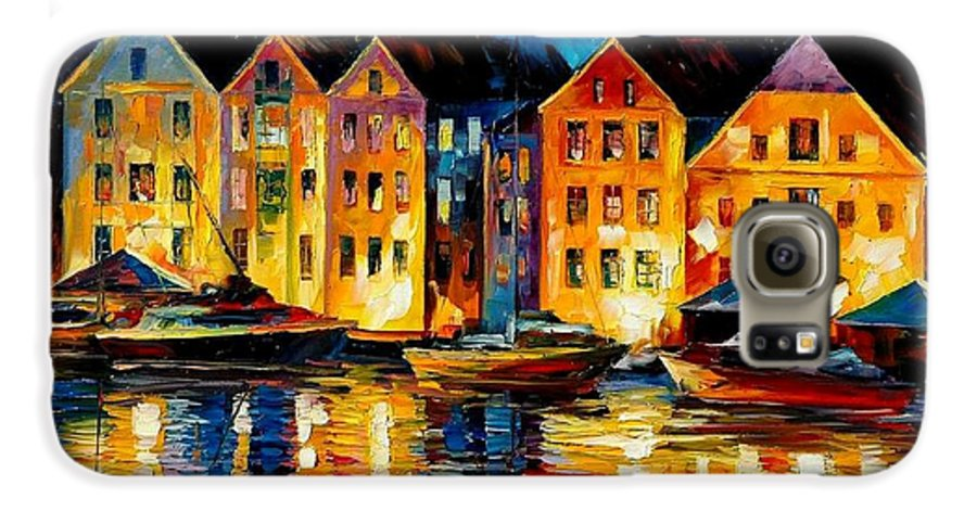 City Galaxy S6 Case featuring the painting Night Resting Original Oil Painting by Leonid Afremov