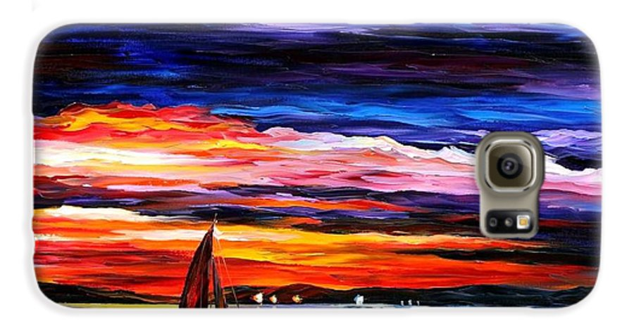 Seascape Galaxy S6 Case featuring the painting Night Sea by Leonid Afremov