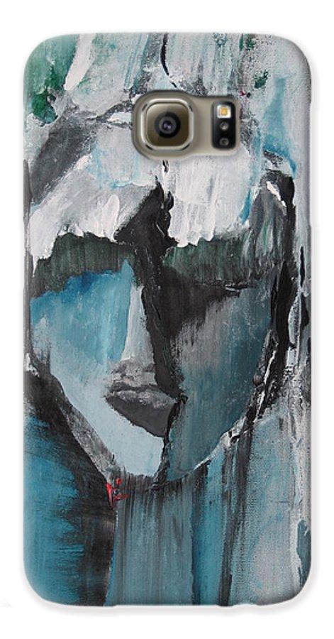Abstract Acrylic Blue Darkestartist Nobody Portrait Darkest Artist Face Galaxy S6 Case featuring the painting Nobody by Darkest Artist