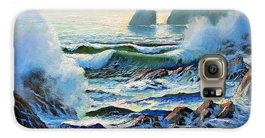 Seascape Galaxy S6 Case featuring the painting North Coast Surf by Frank Wilson