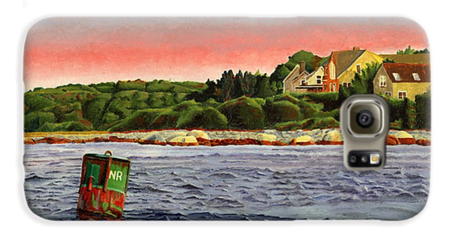 River Galaxy S6 Case featuring the painting North River At Sunset by Dominic White