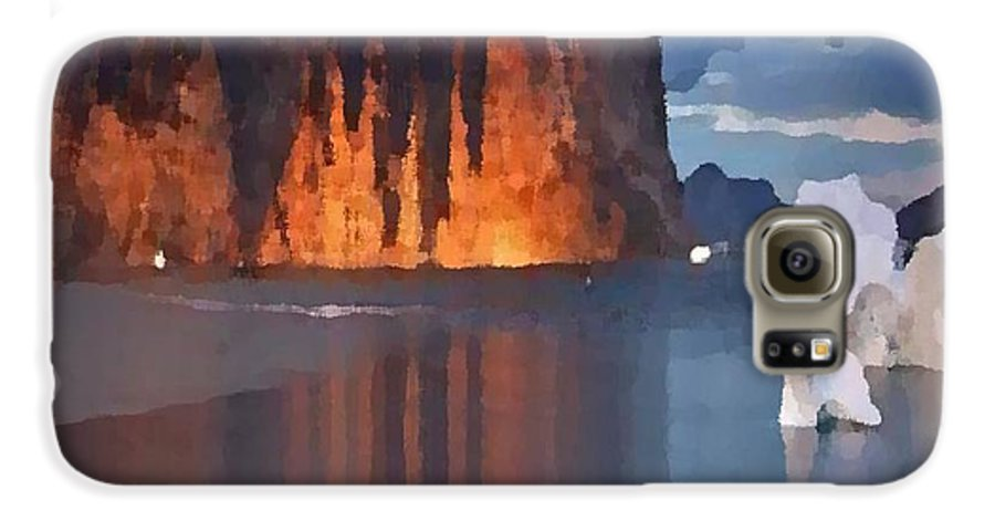 North.rock.iceberg.sea.sky.clouds.cold.landscape.nature.rest.silence Galaxy S6 Case featuring the digital art North Silence by Dr Loifer Vladimir