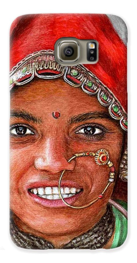 Woma Galaxy S6 Case featuring the painting Northindian Woman by Nicole Zeug