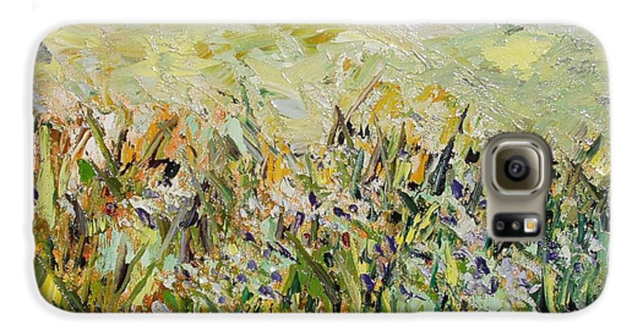 Field Paintings Galaxy S6 Case featuring the painting Nose Hill by Seon-Jeong Kim