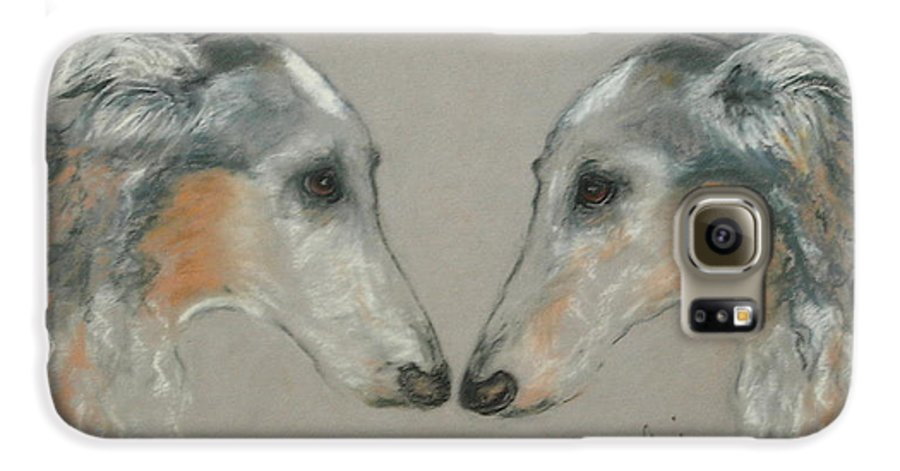 Dog Galaxy S6 Case featuring the drawing Nose To Nose by Cori Solomon