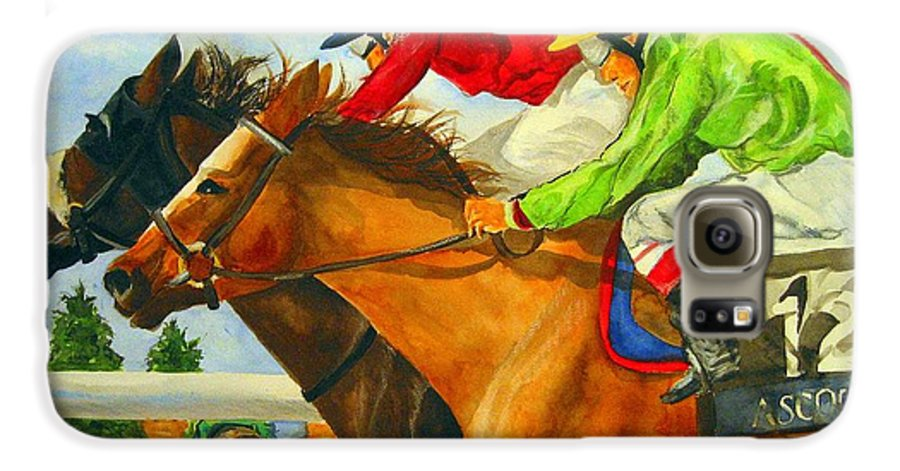 Horse Galaxy S6 Case featuring the painting Nose To Nose by Jean Blackmer