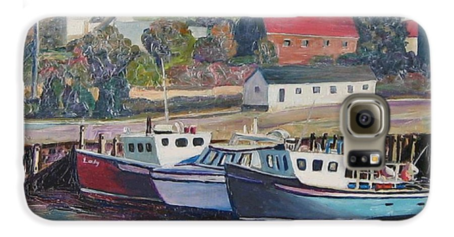 Nova Scotia Galaxy S6 Case featuring the painting Nova Scotia Boats by Richard Nowak