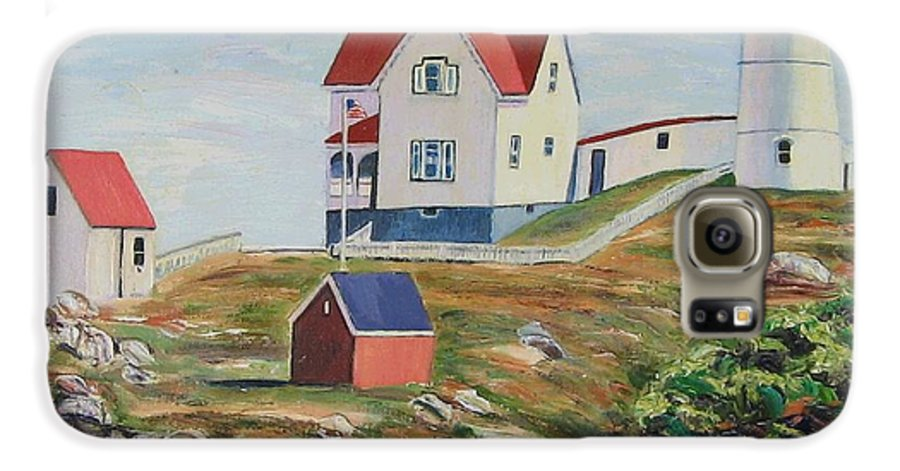 Nubble Light House Galaxy S6 Case featuring the painting Nubble Light House Maine by Richard Nowak