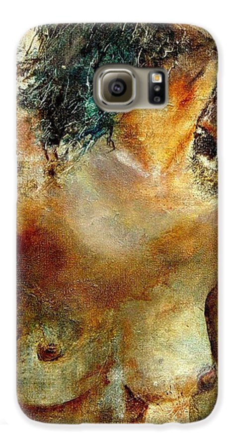 Girl Nude Galaxy S6 Case featuring the painting Nude 34 by Pol Ledent