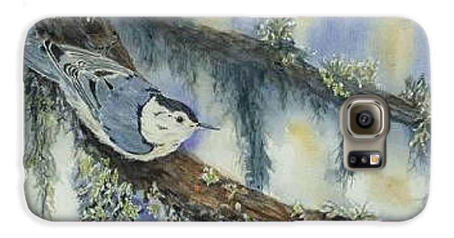 Nuthatch Galaxy S6 Case featuring the painting Nuthatch by Dolores Fegan