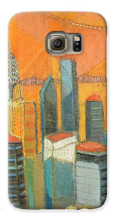 Galaxy S6 Case featuring the painting Nyc In Orange by Habib Ayat