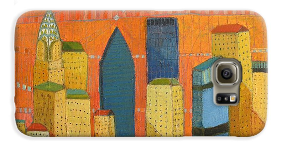 Abstract Cityscape Galaxy S6 Case featuring the painting Nyc With Chrysler by Habib Ayat