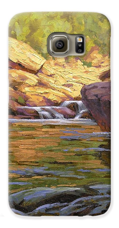 Water Scene Galaxy S6 Case featuring the painting Oak Creek Tributary by Cody DeLong
