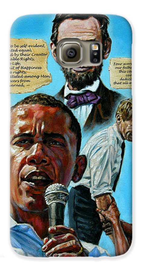 Obama Galaxy S6 Case featuring the painting Obamas Heritage by John Lautermilch