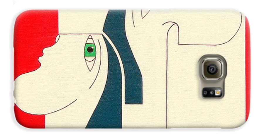 People Original Constructivisme Modern Stylisme Galaxy S6 Case featuring the painting Obstinate by Hildegarde Handsaeme