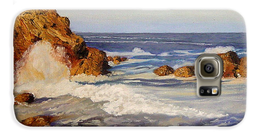 Seascape Galaxy S6 Case featuring the painting Ocean Rock by Quwatha Valentine