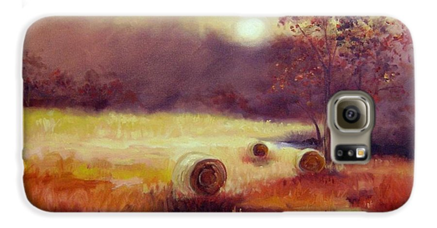 Fall Landscapes Galaxy S6 Case featuring the painting October Pasture by Ginger Concepcion