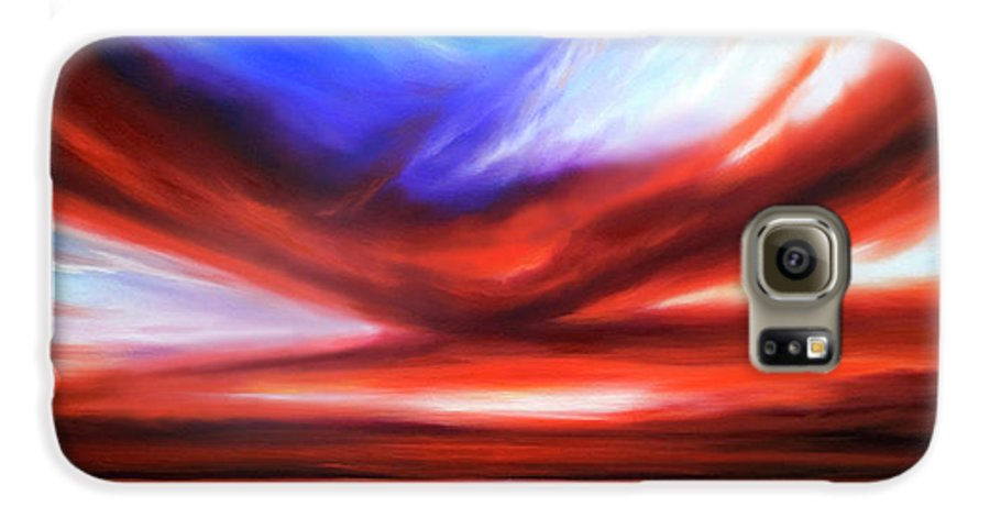 Sunrise; Sunset; Power; Glory; Cloudscape; Skyscape; Purple; Red; Blue; Stunning; Landscape; James C. Hill; James Christopher Hill; Jameshillgallery.com; Ocean; Lakes; Storm; Tornado; Lightning Galaxy S6 Case featuring the painting October Sky V by James Christopher Hill