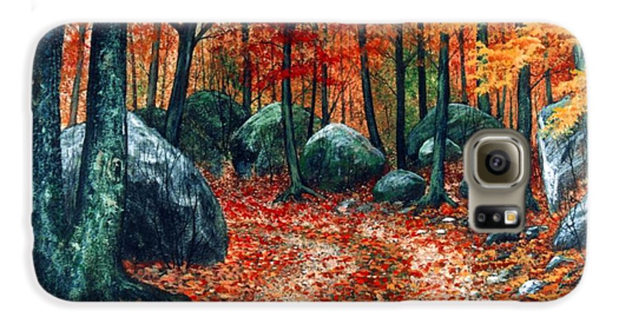 Landscape Galaxy S6 Case featuring the painting October Woodland by Frank Wilson