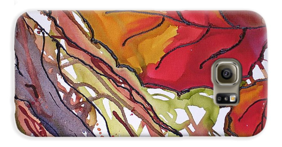 Leaf Galaxy S6 Case featuring the mixed media Octobersecond by Susan Kubes