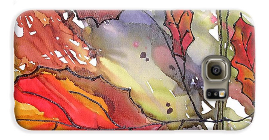 Leaf Galaxy S6 Case featuring the mixed media Octoberthird by Susan Kubes