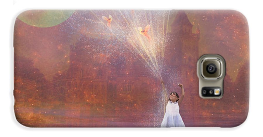 Fairyland Galaxy S6 Case featuring the painting Off To Fairy Land - By Way Of Fairyloons by Carrie Jackson