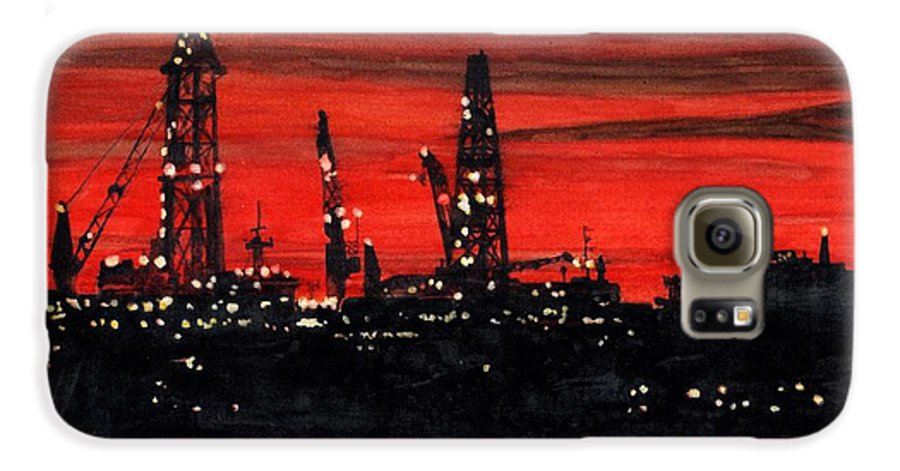 Cityscape Galaxy S6 Case featuring the painting Oil Rigs Night Construction Portland Harbor by Dominic White