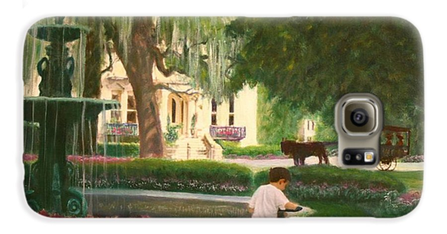 Savannah; Fountain; Child; House Galaxy S6 Case featuring the painting Old And Young Of Savannah by Ben Kiger