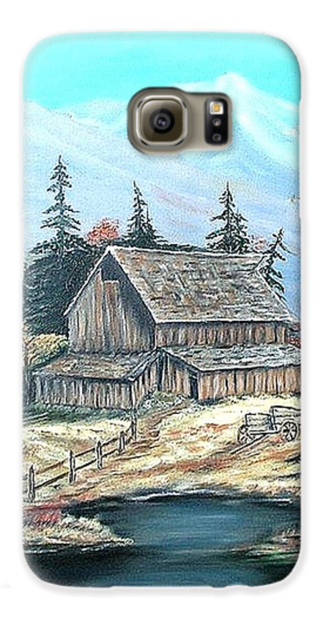 Landscape Pond Wagon Old Trees Mountain Galaxy S6 Case featuring the painting Old Barn Above The Pond by Kenneth LePoidevin