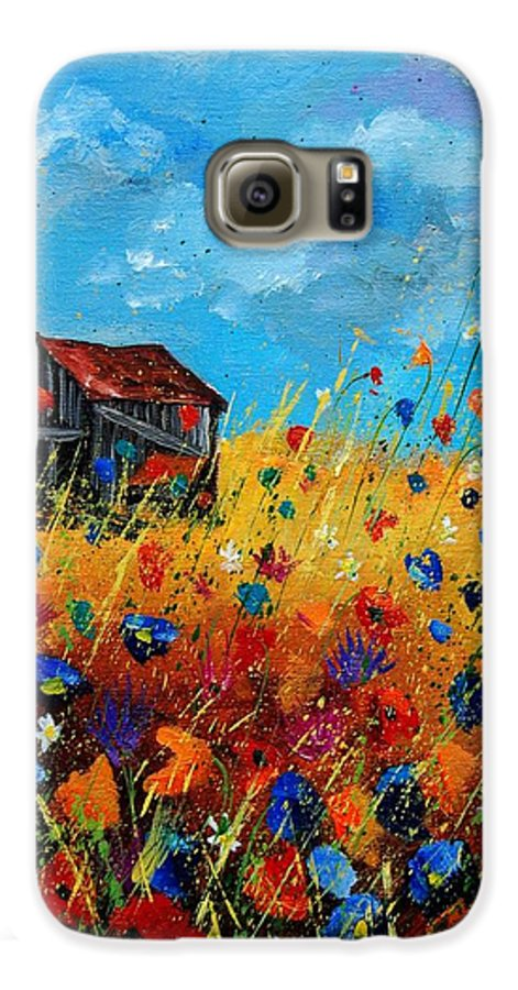 Poppies Galaxy S6 Case featuring the painting Old Barn by Pol Ledent