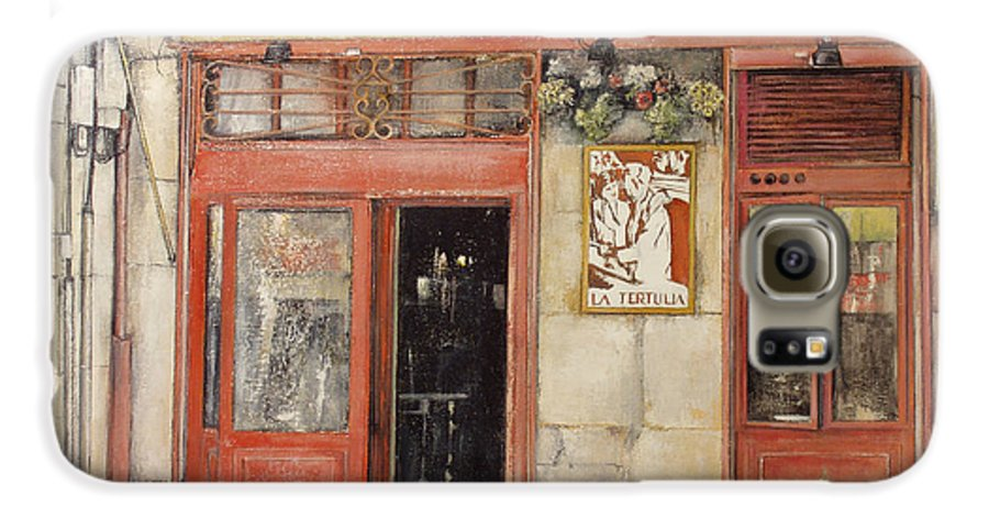 Cafe Galaxy S6 Case featuring the painting Old Cafe- Santander Spain by Tomas Castano