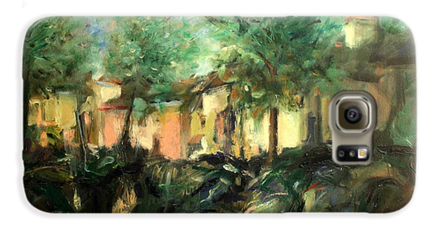 Old Houses Galaxy S6 Case featuring the painting Old Houses by Mario Zampedroni