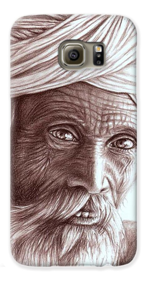 Man Galaxy S6 Case featuring the drawing Old Indian Man by Nicole Zeug