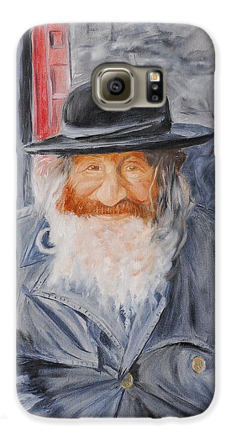 Jerusalem Galaxy S6 Case featuring the painting Old Man Of Jerusalem by Quwatha Valentine