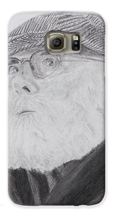 Portrait Galaxy S6 Case featuring the drawing Old Man With Beard by Quwatha Valentine