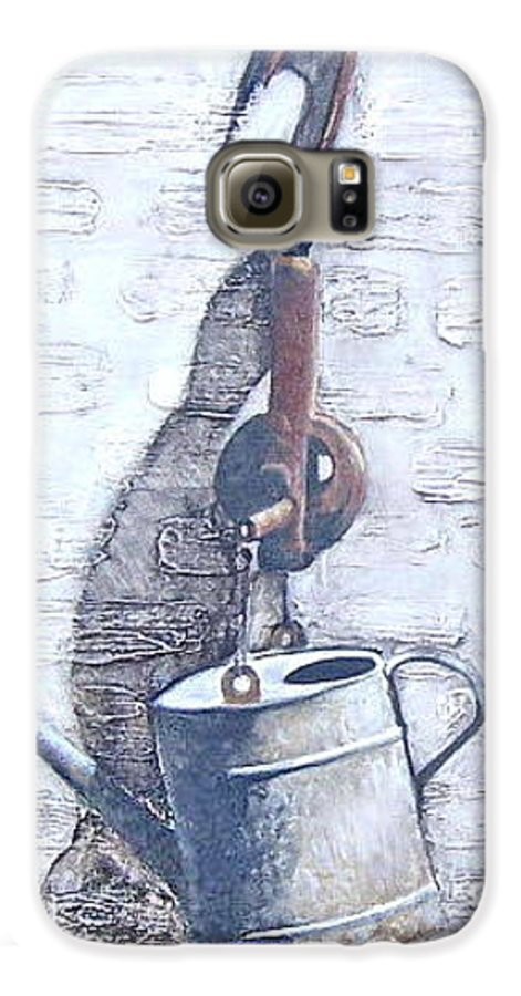 Old Metal Still Life Galaxy S6 Case featuring the painting Old Metal by Natalia Tejera