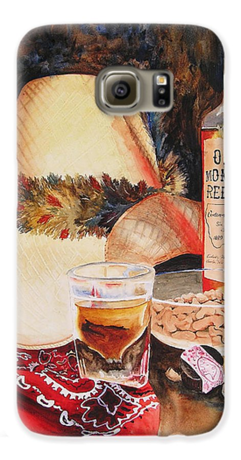 Whiskey Galaxy S6 Case featuring the painting Old Montana Red Eye by Karen Stark