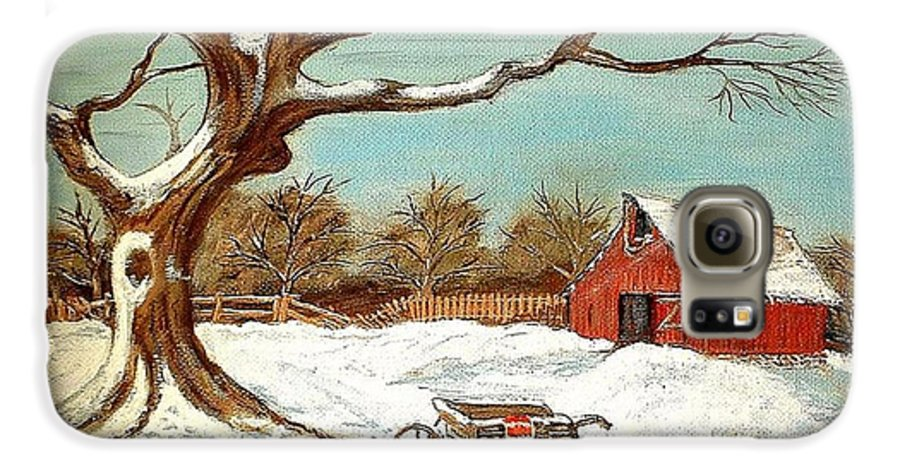Old Tree Barn Wheelbarrow Snow Winter Painting Galaxy S6 Case featuring the painting Old Tree And Barn by Kenneth LePoidevin