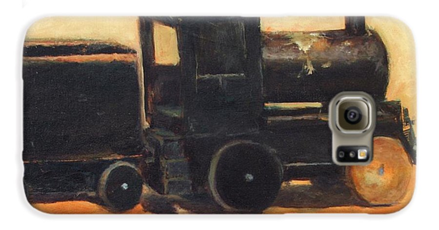 Trains Galaxy S6 Case featuring the painting Old Wood Toy Train by Chris Neil Smith